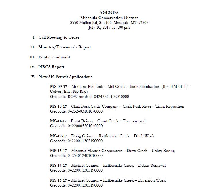 Agenda – July 10, 2017