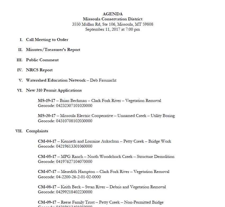 Agenda – September 11, 2017