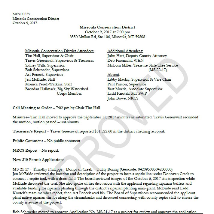October 9, 2017 – Approved Meeting Minutes