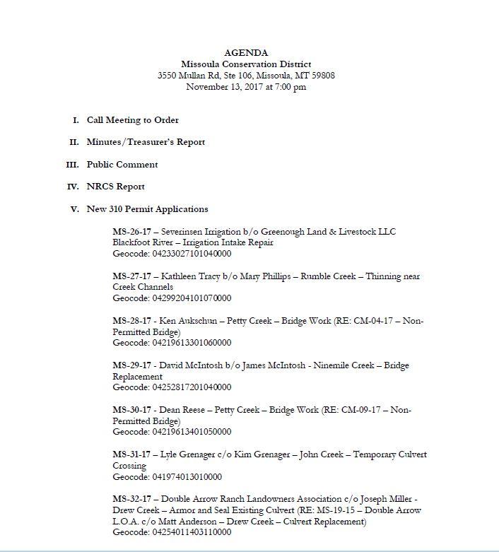 Agenda – November 13, 2017