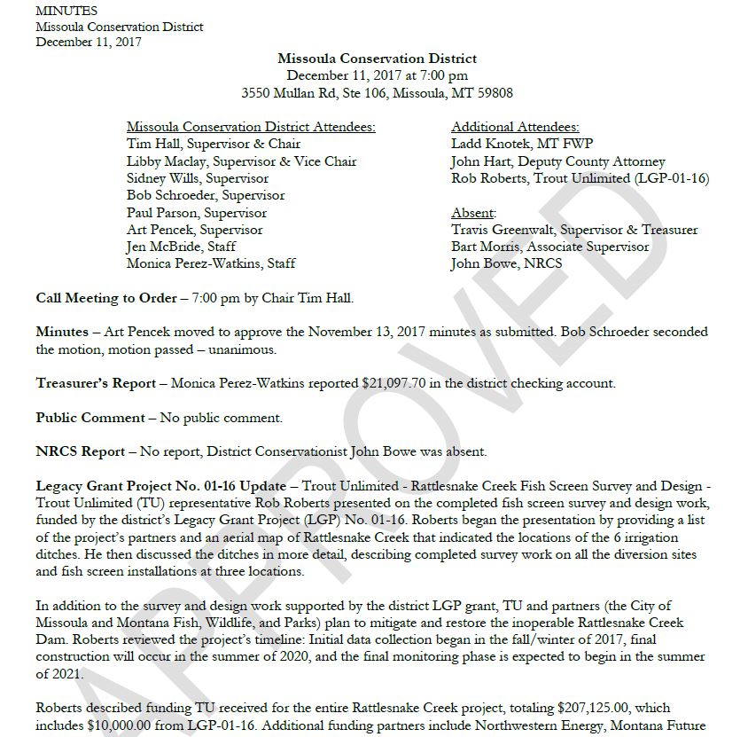 December 11, 2017 – Approved Meeting Minutes
