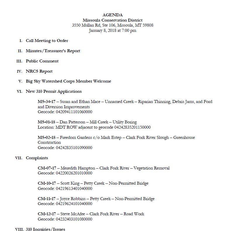 Agenda – January 8, 2018