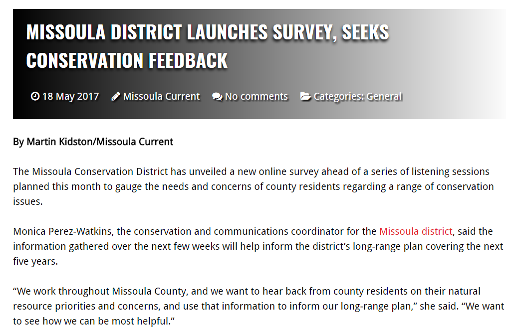 Listening Sessions & Online Survey In Missoula Current