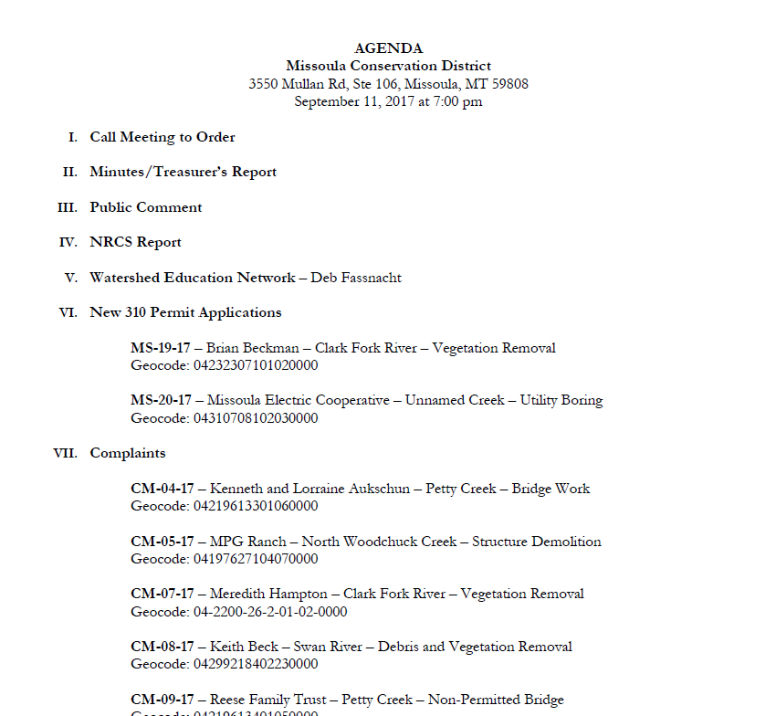 September 11, 2017 – Approved Meeting Minutes