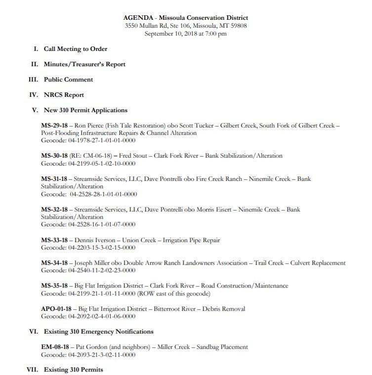 Agenda – September 10, 2018